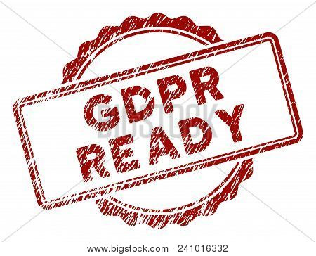 Gdpr Ready Rubber Stamp Seal. Vector Element With Distress Design And Corroded Texture In Red Color.