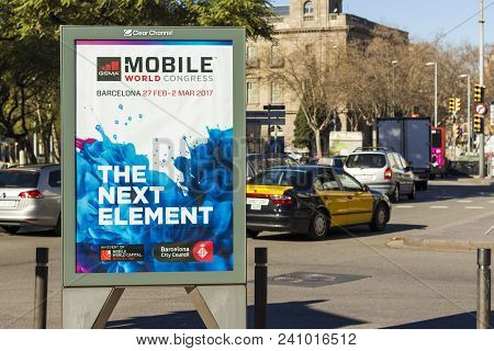 Barcelona, Spain - February 09, 2017 -mobile World Congress Announcement On The Streets Of Barcelona