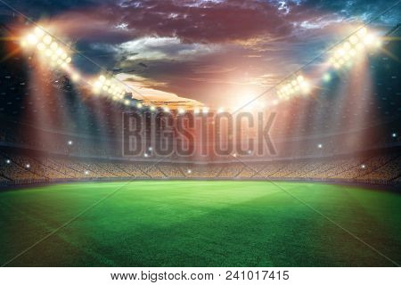 Stadium In The Lights And Flashes, Football Field. Concept Sports Background, Football, Night Stadiu
