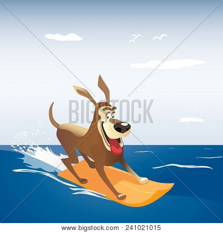 Dog On Surf Board. Colorful Comic Cartoon. Domestic Pet Sport Adventure Activity On Sea Beach Banner