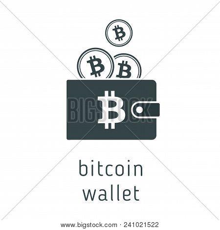 Vector Bitcoin Wallet With Coins, Cryptocurrency In The Wallet. Bitcion Coins In The Wallet Vector I