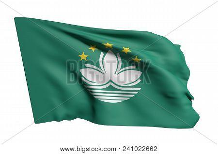 3d Rendering Of Macau Flag Waving On White Background