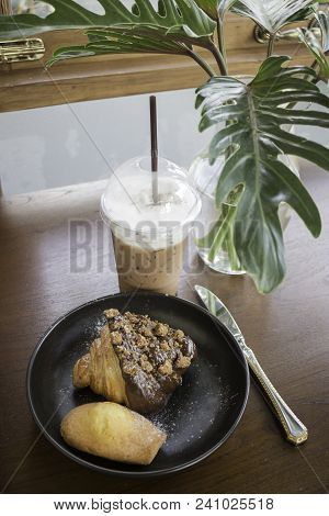 Breakfast Set Of Coffee Drink And Homemade Bakery, Stock Photo
