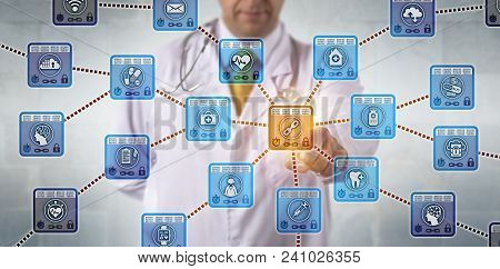 Unrecognizable Physician Is Activating A Healthcare Blockchain Application To Access Secure Medical