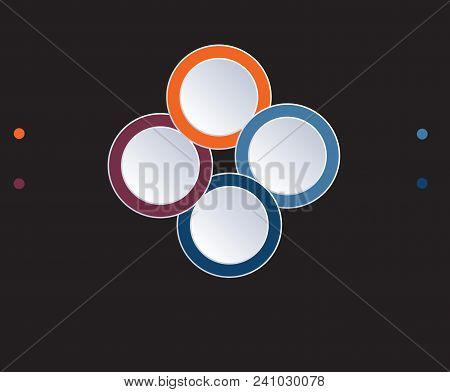 Template Infographic Circles Diagram 4 Positions On Black Background. Coloured Rings Are Located On