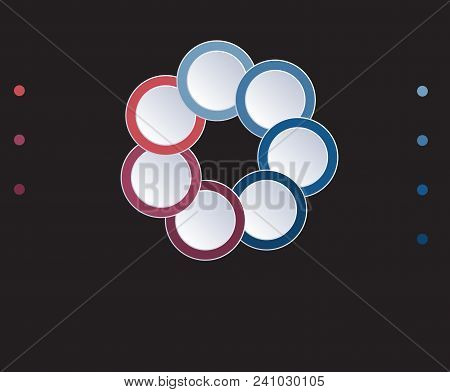 Template Infographic Circles Diagram 7 Positions On Black Background. Coloured Rings Are Located On