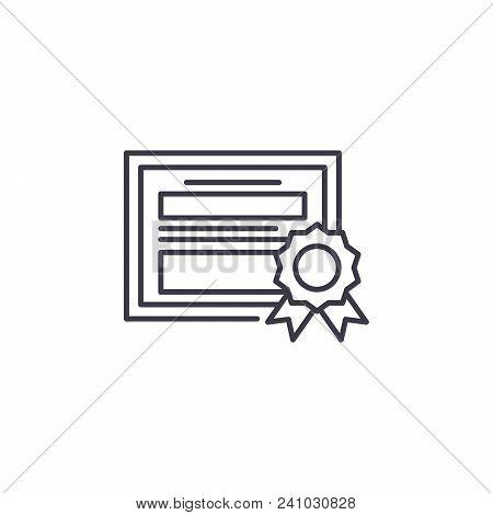 Certificate Of Merit Line Icon, Vector Illustration. Certificate Of Merit Linear Concept Sign.