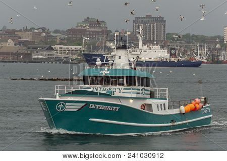 Fairhaven, Massachusetts, Usa - May 15, 2018: Commercial Fishing Vessel Integrity Leaving Port Again