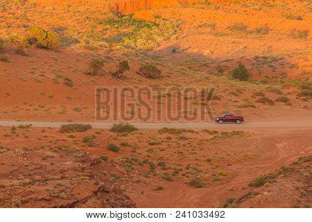 Off- Road On A Duty Road Through The Monument Valley. Tour To The Landmarks Of The Wild West Usa. Na