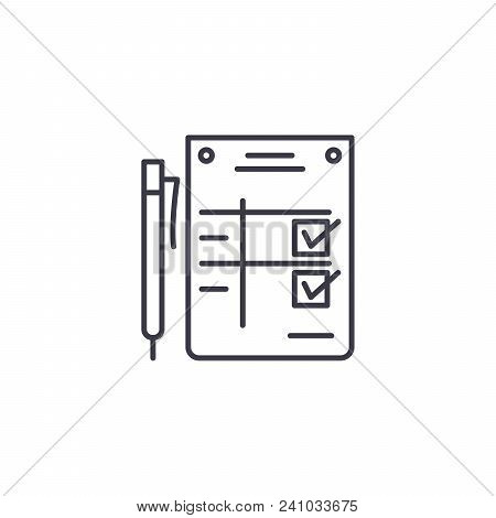 Completion Statement Line Icon, Vector Illustration. Completion Statement Linear Concept Sign.