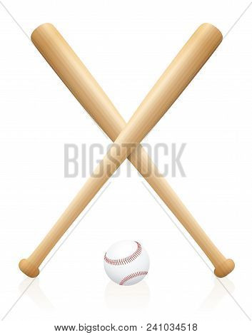 Two Crossed Baseball Bats With One Ball Beneath. Symbol For Sporting Competition, Match, Contest, Ba