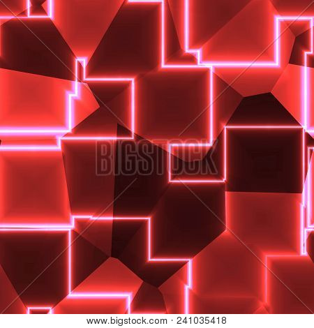Red Glowing Cubic Lines Irregular Lighting Seamless Texture
