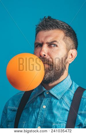 Happiness, Celebrating Birthday, Preparation To Party, Happy Family - Handsome Bearded Man Inflating