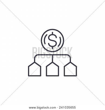 Cost Allocation Line Icon, Vector Illustration. Cost Allocation Linear Concept Sign.