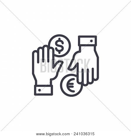 Currency Exchange Line Icon, Vector Illustration. Currency Exchange Linear Concept Sign.