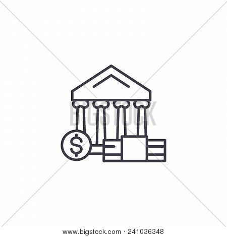 Currency Market Line Icon, Vector Illustration. Currency Market Linear Concept Sign.