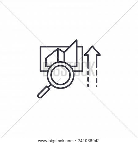 Data Decision Line Icon, Vector Illustration. Data Decision Linear Concept Sign.