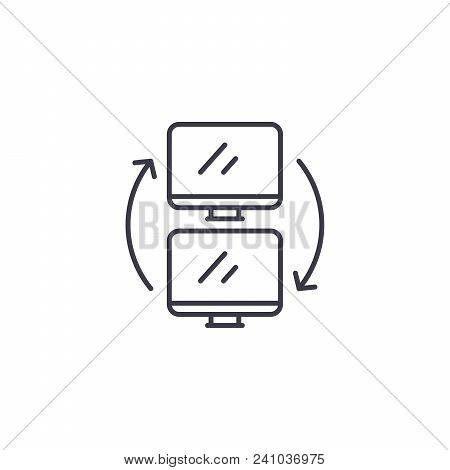 Data Exchange Line Icon, Vector Illustration. Data Exchange Linear Concept Sign.
