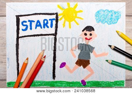 Photo Of Colorful Drawing: Boy Starting The Run. Inscription Start And Smiling, Running Boy