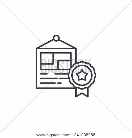 Diploma Line Icon, Vector Illustration. Diploma Linear Concept Sign.