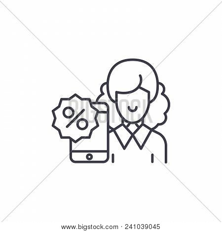 Discount System Line Icon, Vector Illustration. Discount System Linear Concept Sign.