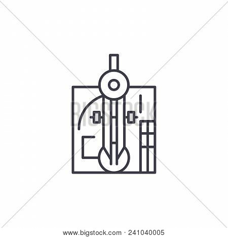 Drawing System Line Icon, Vector Illustration. Drawing System Linear Concept Sign.