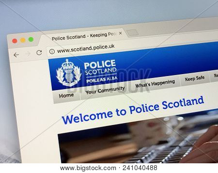 Amsterdam, Netherlands - May 17, 2018: Official Homepage Of Police Scotland, Legally Named The Polic