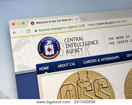 Amsterdam, Netherlands - May 17, 2018: Official Homepage Of The Central Intelligence Agency (cia) Is