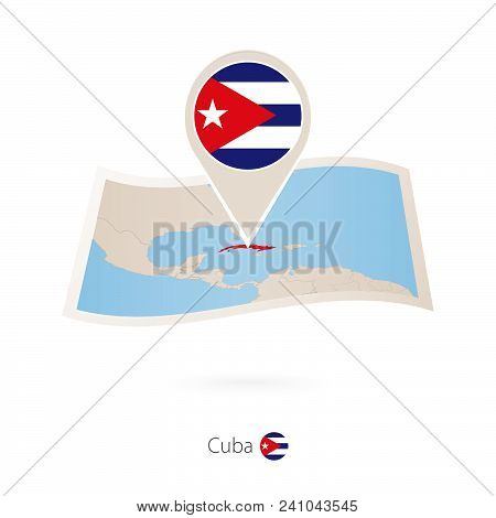 Folded Paper Map Of Cuba With Flag Pin Of Cuba. Vector Illustration