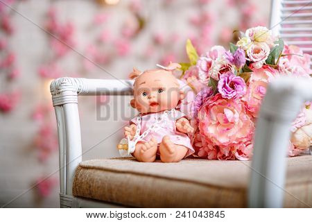 Beautiful Girl, Doll With Flowers, Floral Wreath.the Fashion Concept.