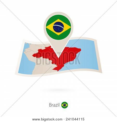 Folded Paper Map Of Brazil With Flag Pin Of Brazil. Vector Illustration
