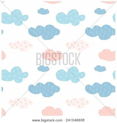 Bright Blue And Pink Clouds On White Seamless Pattern Stock Vector Illustration, Design Element For