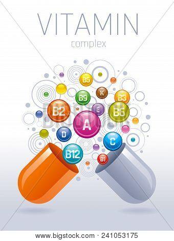 Medical Vitamin, Mineral Background. Multivitamin Complex Of Pill Capsule, Color Vitamins Bubbles Mo