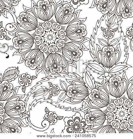 Hand Drawn Oriental Ornament Paisley. Hand Drawn Oriental Ornament For The Anti Stress Coloring Page