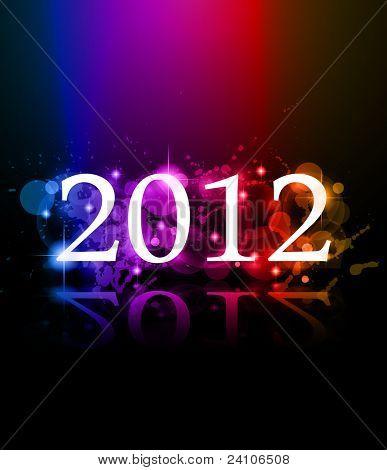 Fundo de celebração de ano novo de 2012 para cobertura, Flyer ou cartaz com elementos de brilho e arco-íris co