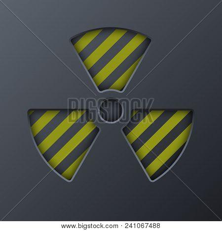 Radiation Round Sign Isolated On Black Background. Vector Illustration