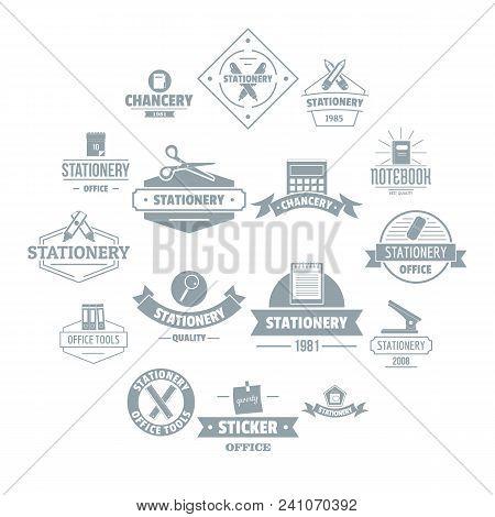Stationery Logo Icons Set. Simple Illustration Of 16 Stationery Logo Vector Icons For Web