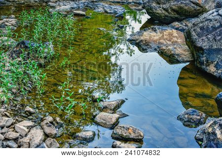 A Closeup Of Shadows Dividing A Shallow Pool Of Water In A Rocky River.