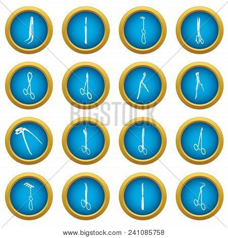 Surgeons Tools Icons Set. Simple Illustration Of 16 Surgeons Tools Vector Icons For Web