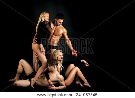 Sensual Love Game. Couple In Love. Men With Muscular Body And Twins, Relations. Men And Twins Women