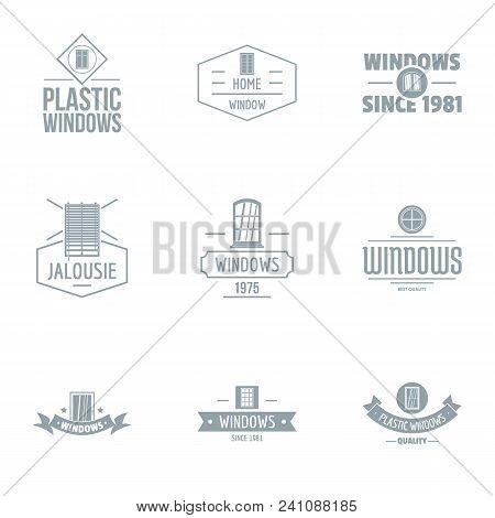 Contemporary Window Logo Set. Simple Set Of 9 Contemporary Window Vector Logo For Web Isolated On Wh