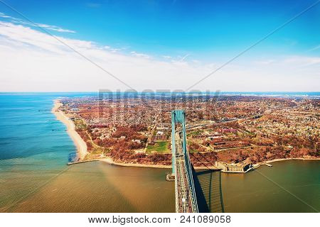 Aerial View On Verrazano Narrows Bridge Over Narrows. It Connects Brooklyn And Staten Island. It Is