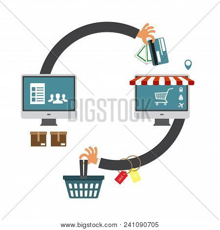 Laptop Computer Online Shopping Concept. Online Store, Shopping Cart Icon. Ecommerce. Vector Illustr