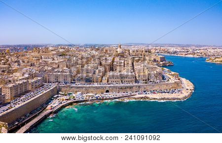 Aerial Panorama Sunrise Photo - Ancient Capital City Of Valletta Malta. Island Country Of Europe In