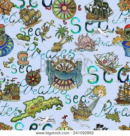 Seamless Background With Nautical Symbols, Old Ships, Treasure Island And Lettering On Light Blue. P