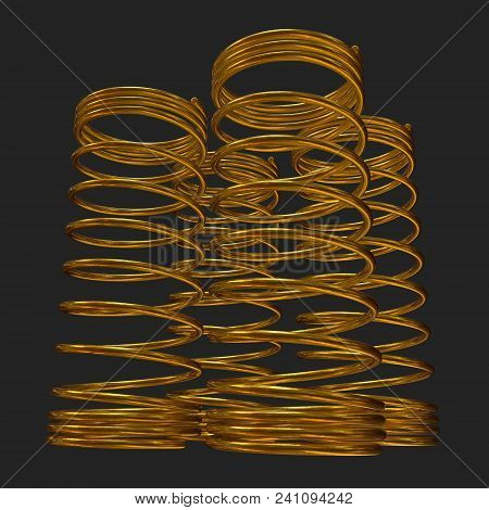Gold Tension Helix Spring Or Machine Shock Absorber. 3d Render On Black Background
