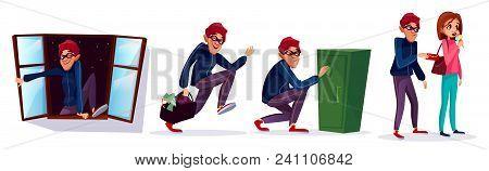 Vector Cartoon Robber, Thief Characters Set. Burglar Running With Stolen Money, Jewelry Bag, Housebr