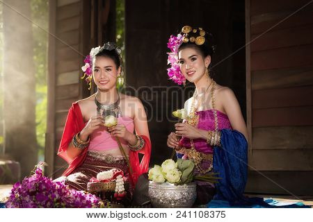 Portrait Of Beautiful Rural Thai Woman Wear Thai Dress In Chiang Mai, Thailand