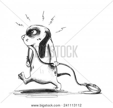 Cute cartoon dog puppy trudges furiously with dropped dog leash in its mouth