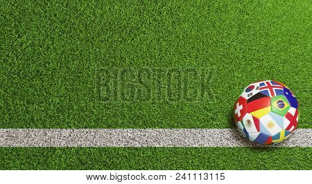 Background header of an international football lying on the grass of a soccer field (3D Rendering)